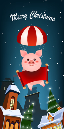 Christmas vertical banner design. Cheerful piggy parachuting in air over night city. Illustration can be used for greeting cards, flyers, posters Illustration