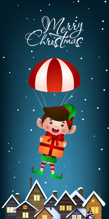 Christmas vertical banner design. Jolly elf with gift flying with parachute over snow covered rooftops. Illustration can be used for greeting cards, flyers, posters
