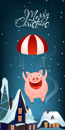 Christmas vertical banner design. Jolly pig parachuting in air over snow covered rooftops. Illustration can be used for greeting cards, flyers, posters