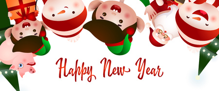New Year party flyer design. Christmas team of elves, Santa Claus, snowmen and pigs having fun. Illustration can be used for greeting cards, banners, posters
