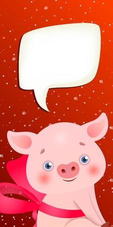 New Year vertical banner template. Cute cartoon pig with tied bow, blank speech bubble and snowfall in red blue background. Festive design can be used for greeting cards, flyers, posters