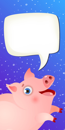 New Year vertical banner template. Joyful cartoon pig, blank speech bubble and snowfall in dark blue background. Festive design can be used for greeting cards, flyers, posters
