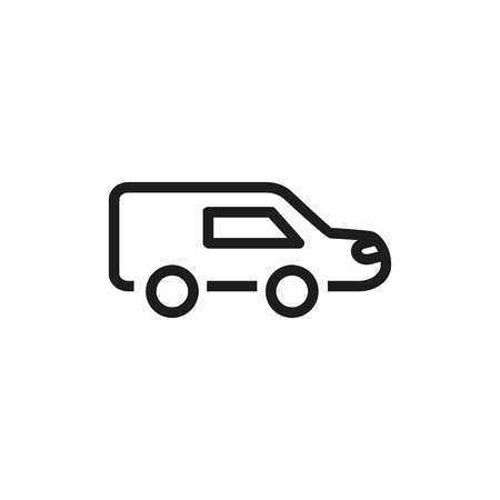 Hearse line icon. Automobile, car, truck. Funeral home concept. Vector illustration can be used for topics like transportation, funeral, ceremony