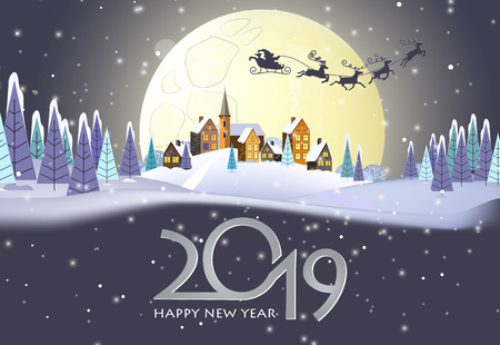 Twenty nineteen poster design. Santa Claus sleigh, full moon, night rural landscape, houses, snow and fir trees. Illustration can be used for greeting cards, banners, posters 向量圖像