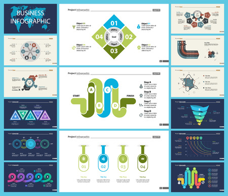 Set of workflow or teamwork concept infographic charts. Business diagrams for presentation slide templates. For corporate report, advertising, banner and brochure design. Illustration