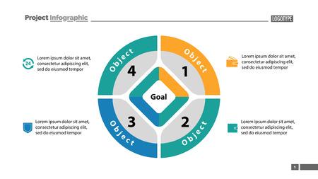Gráfico circular con plantilla de cuatro partes. Datos comerciales. Diagrama, infografía, diseño. Concepto creativo para infografía, plantilla, presentación. Puede utilizarse para temas como gestión, marketing, análisis. Ilustración de vector