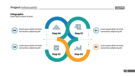 Four step process chart slide template. Element of chart, diagram, infographic. Concept for presentation, annual report, web design. Can be used for topics like business, startup, organization