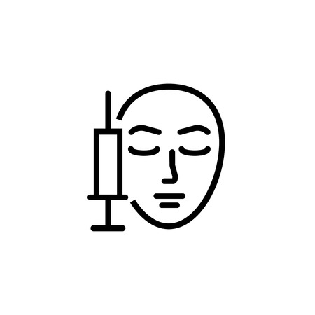 Mesotherapy line icon. Syringe, face, injection. Cosmetology concept. Vector illustration can be used for topics like cosmetic procedure, rejuvenation, anti-aging Illustration