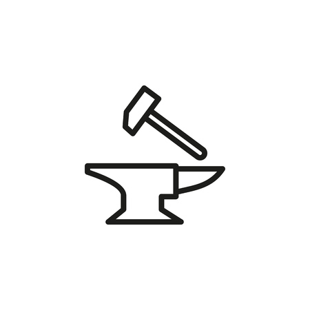 Forge line icon. Hammer, metal, anvil. Medieval concept. Can be used for topics like craftsmanship, crafting, blacksmith