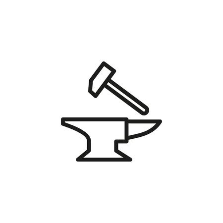 Liniensymbol schmieden. Hammer, Metall, Amboss. Mittelalterliches Konzept. Kann für Themen wie Handwerk, Handwerk, Schmiede verwendet werden
