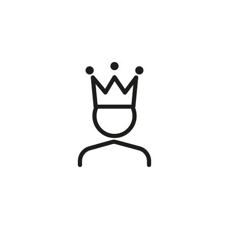 Icona della linea del re. Personaggio in corona, leader, capo. concetto medievale. Può essere utilizzato per argomenti come leadership, ambizione, orgoglio Vettoriali