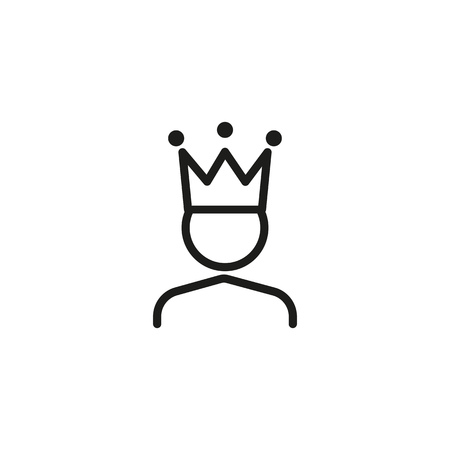 King line icon. Character in crown, leader, boss. Medieval concept. Can be used for topics like leadership, ambition, pride