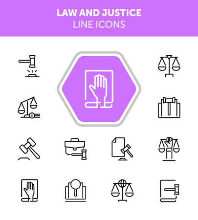 Law and justice line icons. Set of line icons on white background. Law concept. Gavel, rule, courtroom. Can be used for topics like judgement, law, government