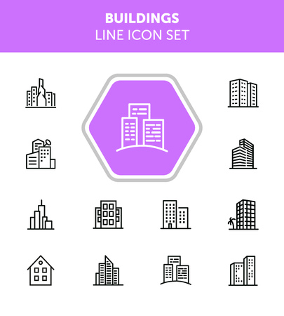 Buildings line icon set. Office, house, block of flats. City concept. Can be used for topics like residential accommodation, real estate, property Ilustração Vetorial