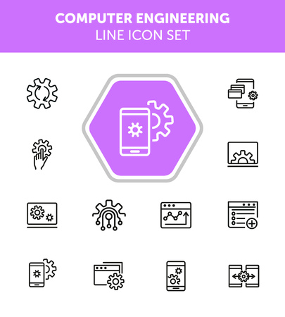 Computer engineering line icon set. Set of line icons on white background. Technology concept. Computer, machine, progress. Vector illustration can be used for topics like technics, programming, computer