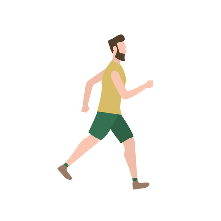 Bearded man being speed walking. Training, motion, activity. Can be used for topics like active lifestyle, sport, hobby