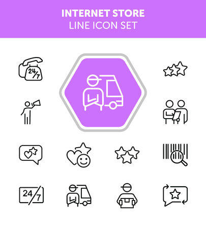 Internet store line icon set. Bar code, courier, like. Online shopping concept. Can be used for topics like customer feedback, delivery, rating Vectores