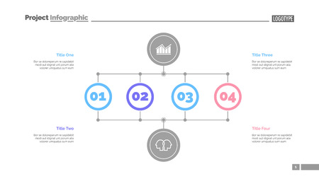 Business stages slide template. Business data. Graph, diagram, design. Creative concept for infographic, report. Can be used for topics like analysis, research, business fields Ilustración de vector