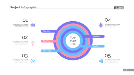 Five circles process chart. Business data. List, diagram, design. Creative concept for infographic, templates, presentation, marketing. Can be used for topics like management, banking, teamwork. Vecteurs