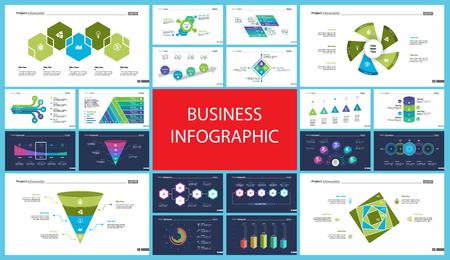 Set di grafici infografici concetto di contabilità o statistiche. Diagrammi aziendali per modelli di diapositive di presentazione. Per report aziendali, pubblicità, banner e brochure design.