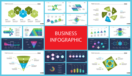 Set of accounting or statistics concept infographic charts. Business diagrams for presentation slide templates. For corporate report, advertising, banner and brochure design.