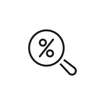 Discount search line icon. Magnifying glass, percentage, shopping. Sale concept. Can be used for topics like consumerism, Cyber Monday, purchase