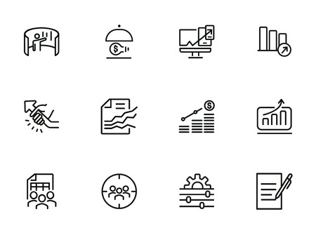 Consulting line icon set. Graph, chart, analysis. Business concept. Can be used for topics like marketing, finance management, startup