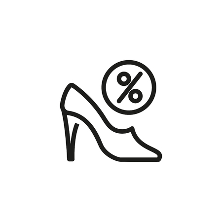 Shoes discount line icon. Heel, fashion, sale. Shopping spree concept. Can be used for topics like style, Cyber Monday, footwear Illustration