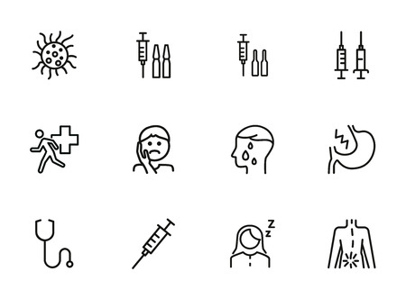 Diseases line icon set. Set of line icons on white background. Healthcare concept. Syringe, injection, bacteria, person, pain. Illustration can be used for topics like medicine, health, treatment Stock Illustratie