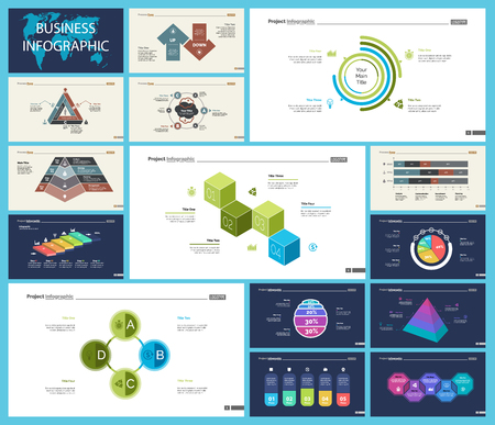 Ensemble de graphiques infographiques de concept de stratégie ou de planification. Éléments de conception commerciale pour les modèles de diapositives de présentation. Pour la conception de rapports d'entreprise, de publicités, de bannières et de brochures