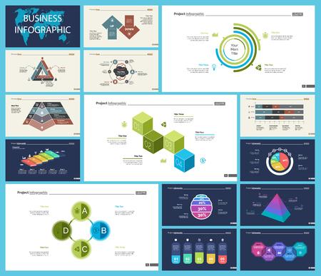 Satz von Infografik-Diagrammen für Strategie oder Planungskonzept. Business-Design-Elemente für Präsentationsfolienvorlagen. Für Unternehmensberichte, Werbung, Banner und Broschürendesign