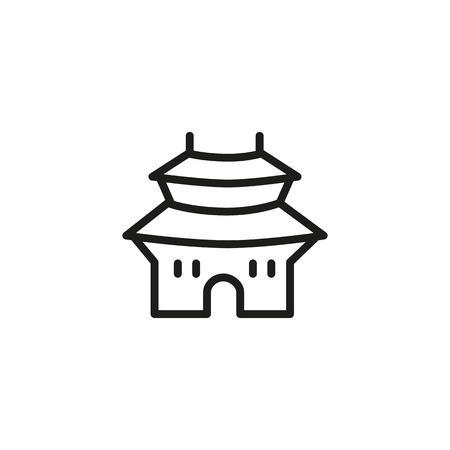 Seoul line icon. Traditional Korean building. Landmarks concept. Can be used for topics like South Korea, architecture, travel Illustration