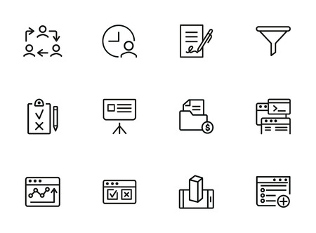 Internet marketing icons. Set of line icons. Work cycle, signing contract, sales funnel. Business development concept. Vector illustration can be used for topics like business, marketing, trade