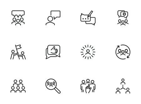 Team icons. Set of line icons. Human resource, hr management, corporate structure. Working in team concept. Vector illustration can be used for topic like business, employment, headhunting