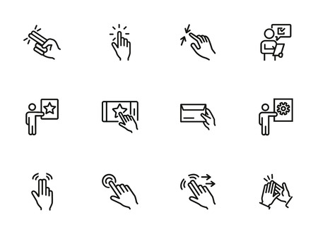 Hand gesture icons. Set of line icons. Pressing button, clapping, message, ticking. Hand sign concept. Vector illustration can be used for topics like communication, technology, networking