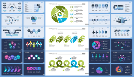 Set of management or teamwork concept infographic charts. Business diagrams for presentation slide templates. For corporate report, advertising, banner and brochure design.