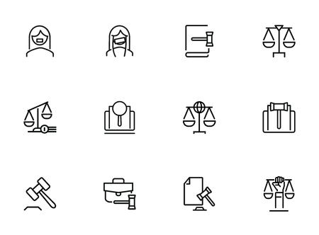 Jeu d'icônes de ligne de loi. Ensemble d'icônes de ligne sur fond blanc. Échelle, avocat, juge. Notion de droit. L'illustration vectorielle peut être utilisée pour des sujets comme Vecteurs
