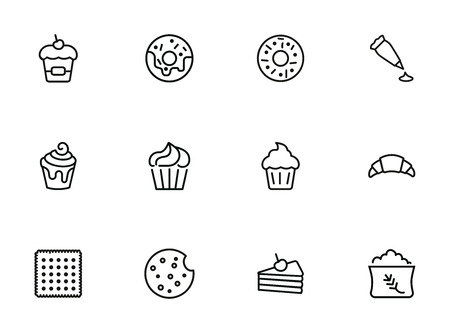 Sweets line icon set. Set of line icons on white background. Confectionery concept. Donut, cupcake, pie. Vector illustration can be used for topics like bakery, baking