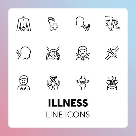 Illness line icons. Set of line icons on white background. Pain, headache, bones. Healthcare concept. Vector illustration can be used for topics like medicine, surgery, healthcare Vektoros illusztráció