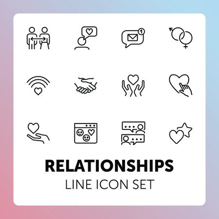 Relationships line icon set. Set of line icons on white background. Sociality concept. Message, notification, relationship. Vector illustration can be used for topics like internet, chatting