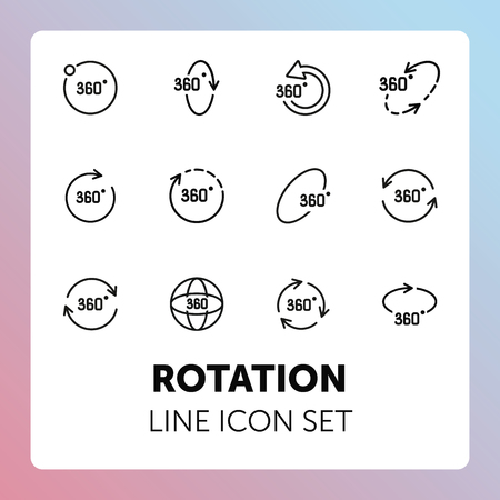 Rotation line icon set. Geometry and design concept. Rotation, arrow, three hundred and sixty degree. Vector illustration can be used for topics like geometry, design, science Vectores