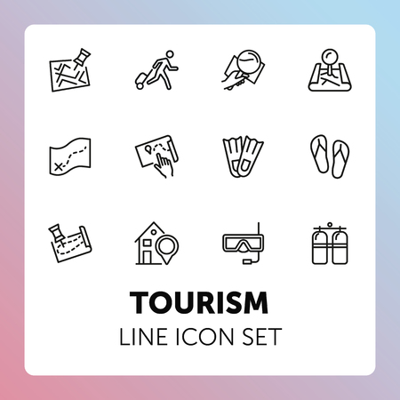 Tourism line icon set. Set of line icons on white background. Travelling concept. Diving mask, map, aqualung. Vector illustration can be used for topics like travelling, tourism, trip