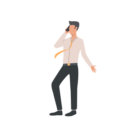 Businessman talking on phone flat icon. Cell, tie, call. Communication concept. Vector illustration can be used for topics like negotiation, connection, dealing