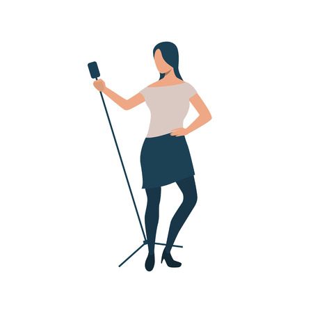 Pop singer with microphone stand flat icon. Woman, performing, mic. Show concept. Vector illustration can be used for topics like stage, pop music, karaoke Illusztráció