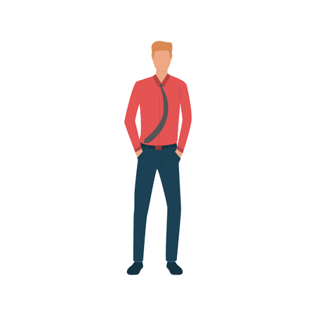 Man in red shirt and tie flat icon. Guy, male, businessman, professional. People concept. Vector illustration can be used for topics like age, occupation, lifestyle