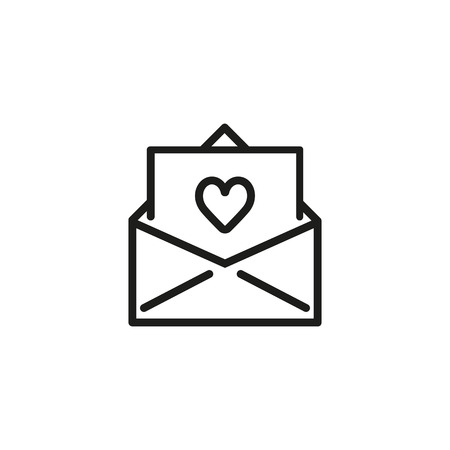 Wedding invitation line icon. Envelope, paper, heart. Wedding concept. Vector illustration can be used for topics like marriage, merry, love, family Illusztráció