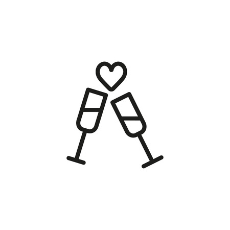 Wedding party line icon. Two glasses, heart, champagne. Wedding concept. Vector illustration can be used for topics like marriage, merry, love, family Illustration