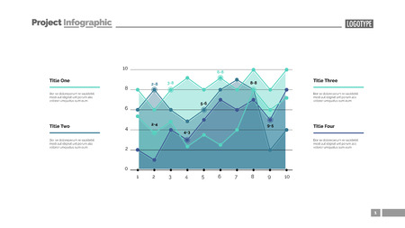 Detailed line graph slide template. Business data. Graph, diagram, design. Creative concept for infographic, report. Can be used for topics like forecasting, finance, implementation