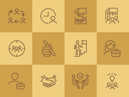 Businesspeople line icon set. Interview, handshake, businessman. Business concept. Can be used for topics like startup, dealing, management, leadership