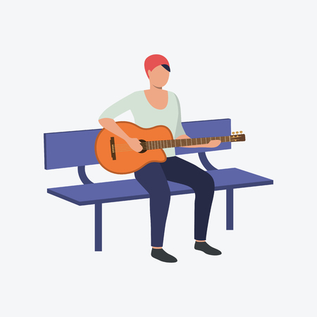 Man playing guitar. Singing song, instrument, leisure. Can be used for topics like creativity, art, performer Çizim